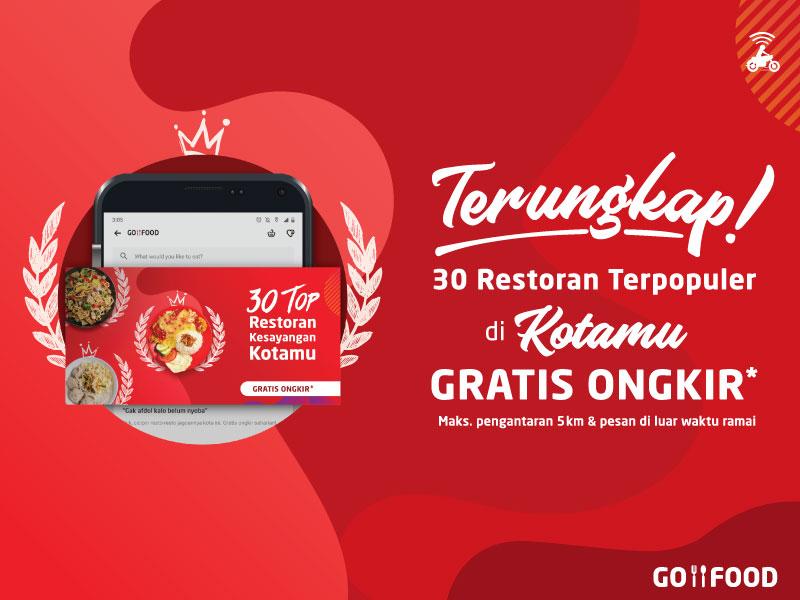 GO-FOOD Promo Gratis Ongkir 5 Kota