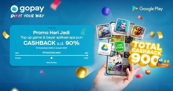 Promo Google Play Total Cashback Rp900rb Orang Gopay