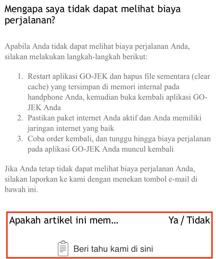Pengaduan Gojek
