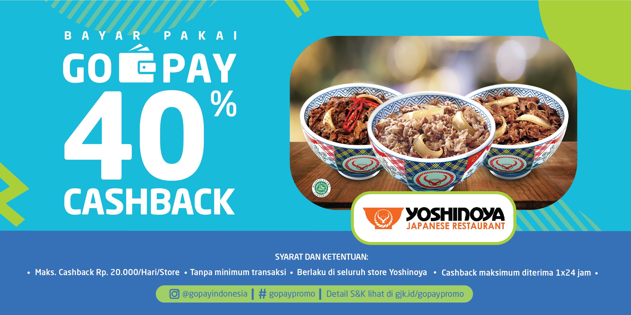 Promo Yoshinoya Desember 2018: Cashback 40%!