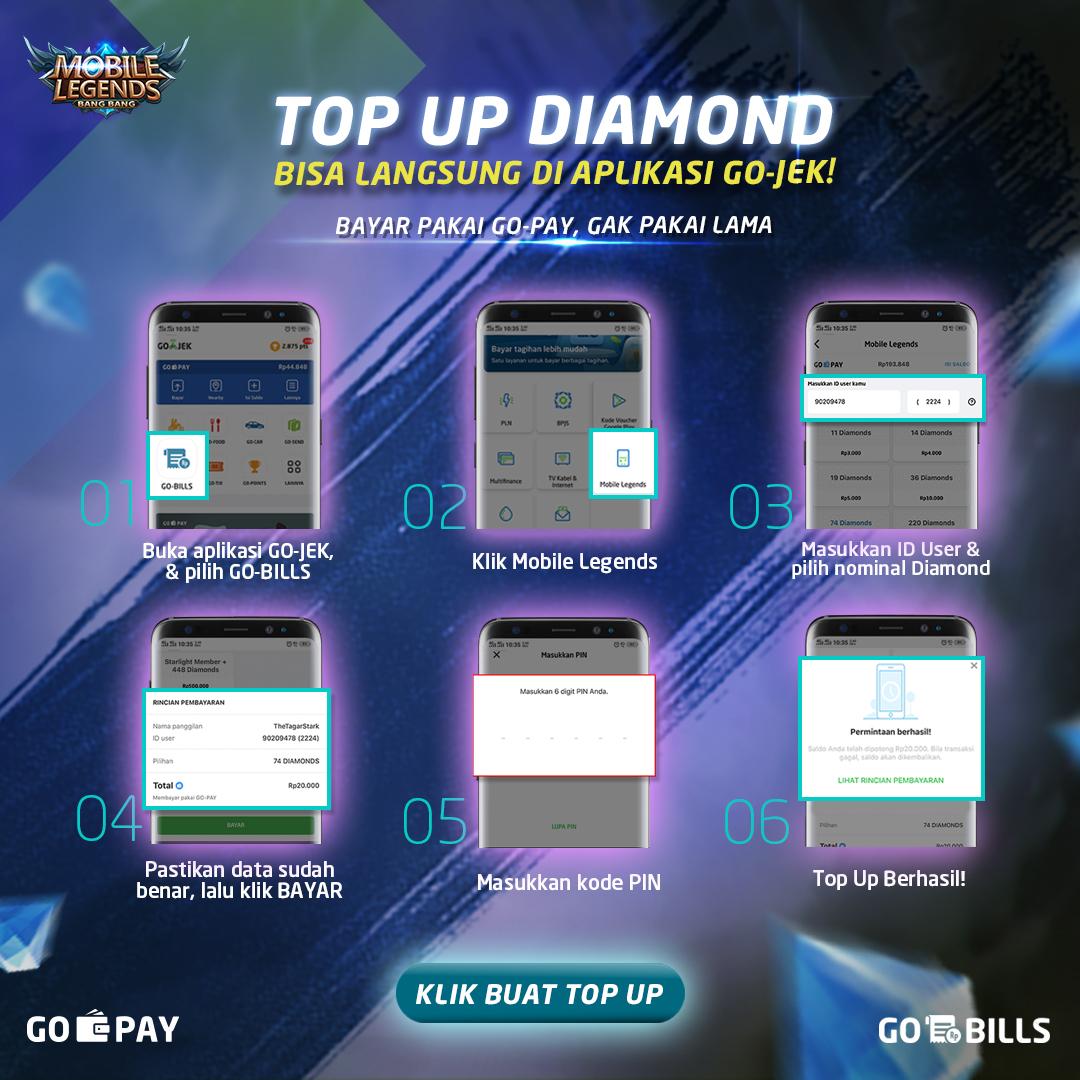 Top Up Mobile Legends Pakai GO-BILLS Lebih Mudah dan Gak
