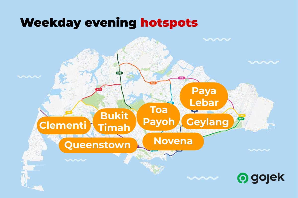 Weekday evening hotspots