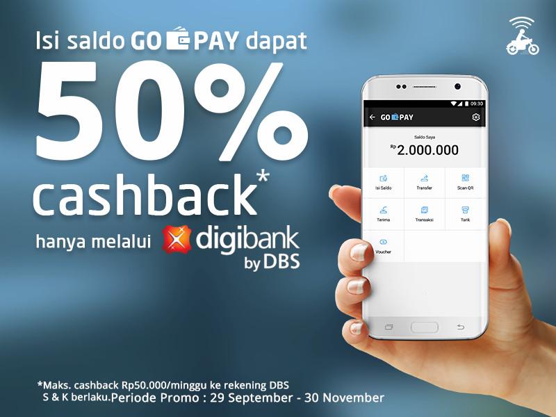Isi Saldo GO-PAY pakai Digibank Bisa dapat Cashback 50%