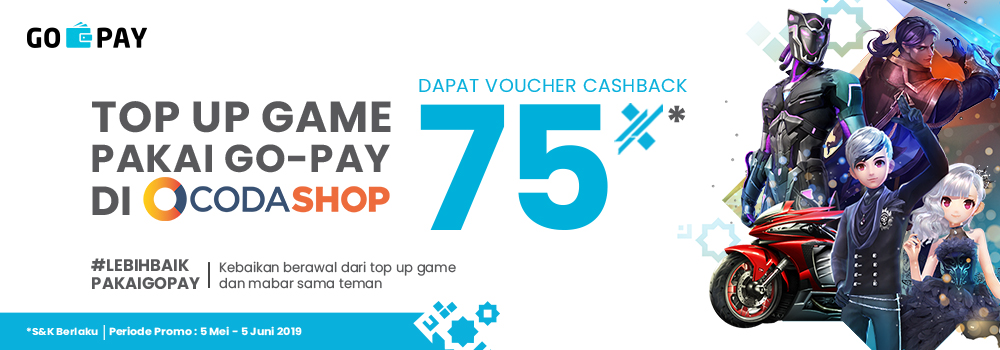 Promo Codashop Juni 2019: Voucher Cashback 75% Kalau Top Up Pakai GO-PAY