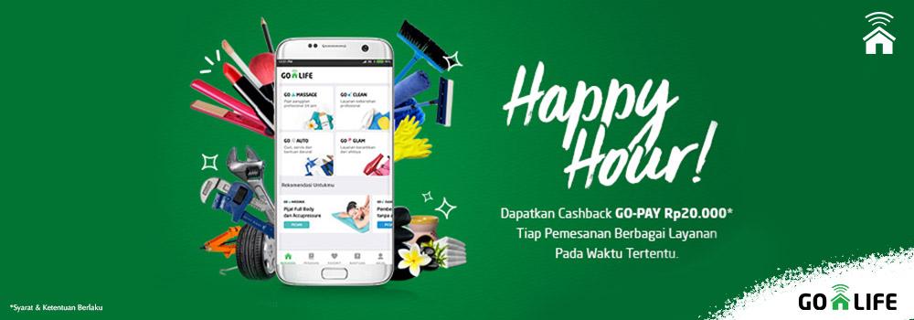Pesan GO-LIFE di Happy Hour, Raih Cashback Go-Pay Rp20.000!