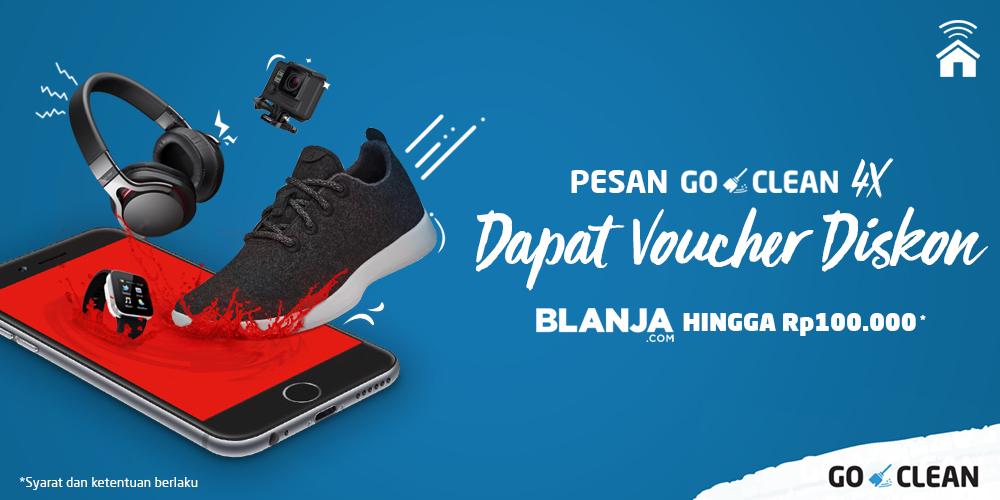 Pesan GO-CLEAN 4x, Dapat Voucher BLANJA.COM hingga Rp100.000