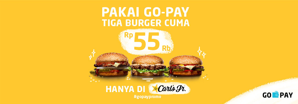 Promo Carl's Jr November 2018: 3 Burger Cuma 55 Ribu!
