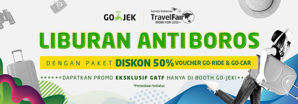 Promo GO-RIDE & GO-CAR Hadir di Garuda Indonesia Travel Fair 2018