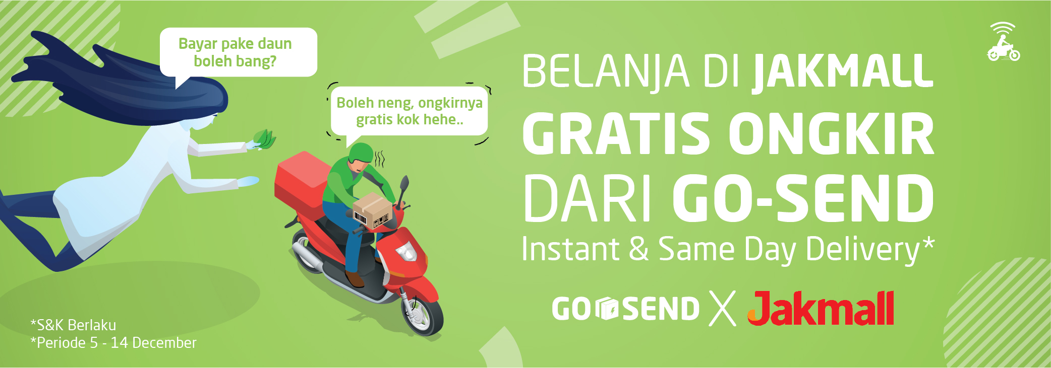 Promo GO-SEND di Jakmall, Gratis Ongkir Same Day Delivery & Instant Delivery