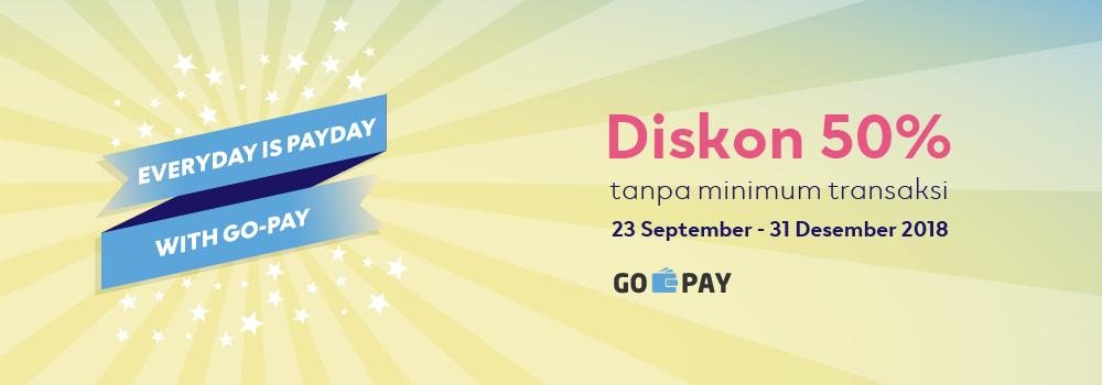 Promo Gajian GO-PAY: Diskon Pay Day 50% Tanpa Minimum Transaksi